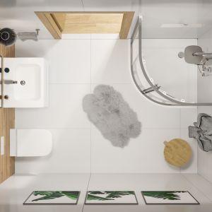 Aranżacja łazienki z kabiną prysznicową Geo - widok z góry. Fot. Koło