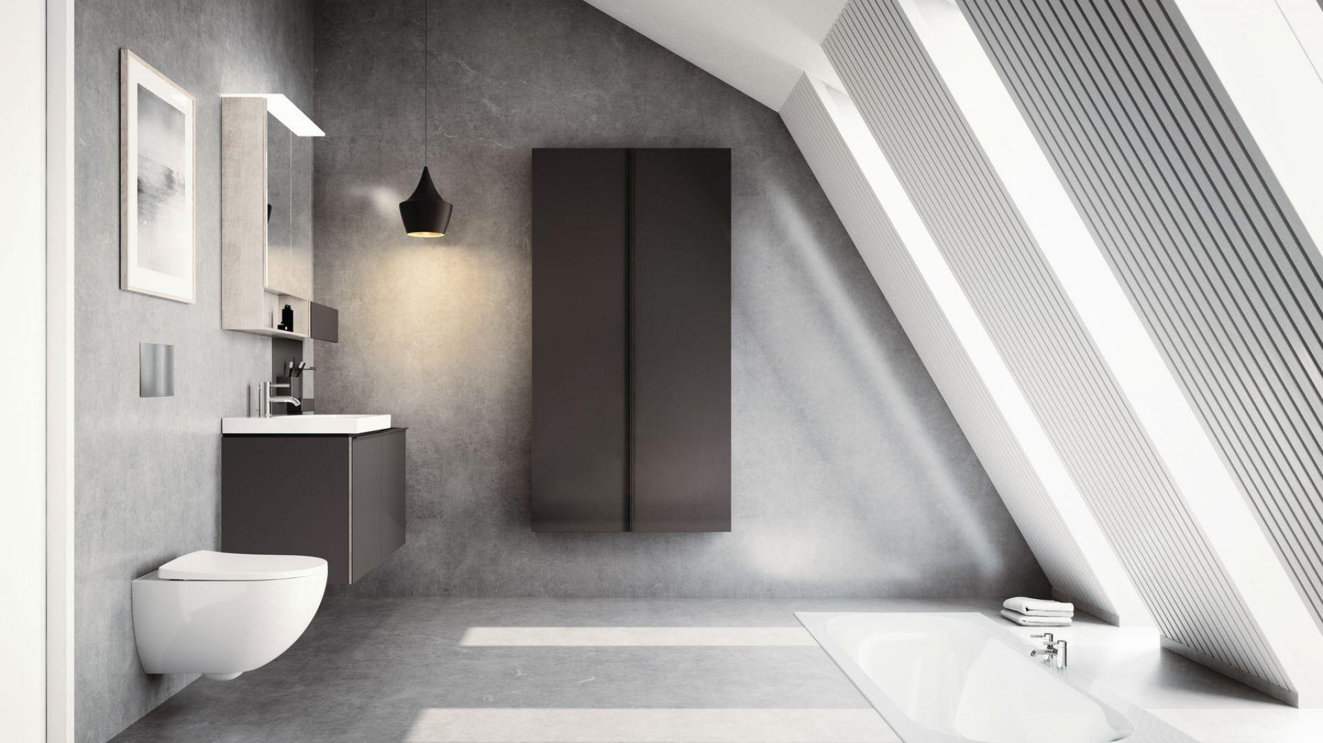 Ciemne meble łazienkowe z kolekcji Acanto marki Geberit. Fot. Geberit