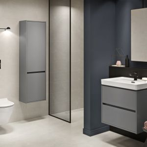 Ciemne meble łazienkowe z kolekcji Crea marki Cersanit. Fot. Cersanit