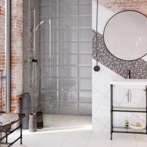 Aranżacja łazienki z płytkami jak kafle z kolekcji Ponti marki Cersanit. Fot. Cersanit