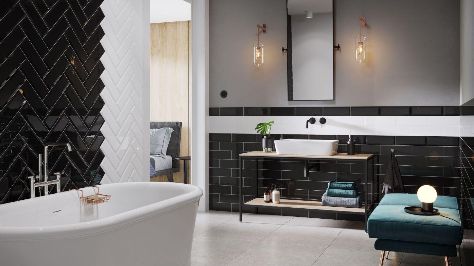 Aranżacja łazienki z płytkami jak kafle z kolekcji Salsa & Metro Style marki Opoczno. Fot. Opoczno