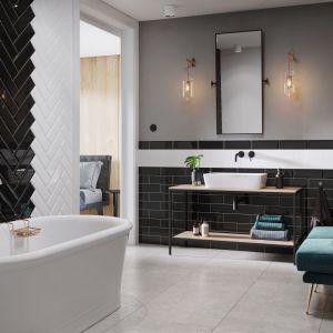 Płytki ceramiczne do czarno-białej łazienki: kolekcja Salsa & Metro Style marki Opoczno. Fot. Opoczno