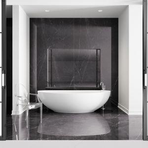 Płytki ceramiczne do czarno-białej łazienki: kolekcja Marquina marki Ultime. Fot. Cerrad