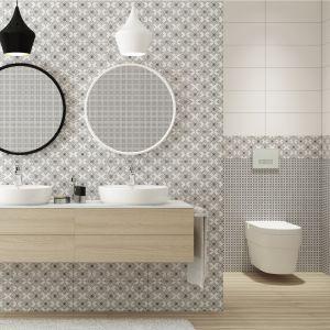 Płytki ceramiczne do czarno-białej łazienki: kolekcja Black&White Pattern marki Cersanit. Fot. Cersanit