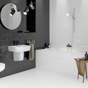 Płytki ceramiczne do czarno-białej łazienki: kolekcja Simple Art marki Cersanit. Fot. Cersanit
