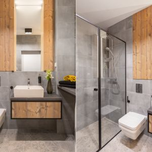 Aranżacja łazienki w stylu industrialnym. Proj. Decoroom. Fot. Materiały prasowe Decoroom