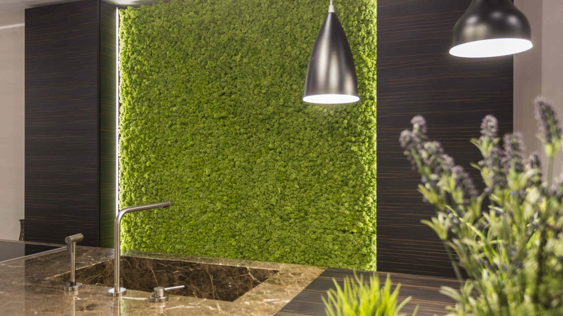 Naturalny mech - ekologiczna dekoracja na ściany w kuchni
