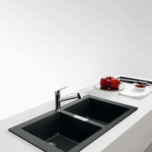 SIRIUS SID 620 – dwukomorowy, z materiału Tectonite®; dwie prostokątne komory ułatwią mycie warzyw i drobnych naczyń; 799 zł, Franke