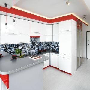 Kuchnia w bloku. Propozycje urządzenia w kształcie litery U. Projekt Monika Olejnik.