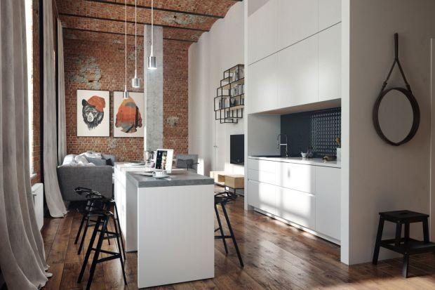 Cegła, beton i drewno w nowoczesnej kuchni