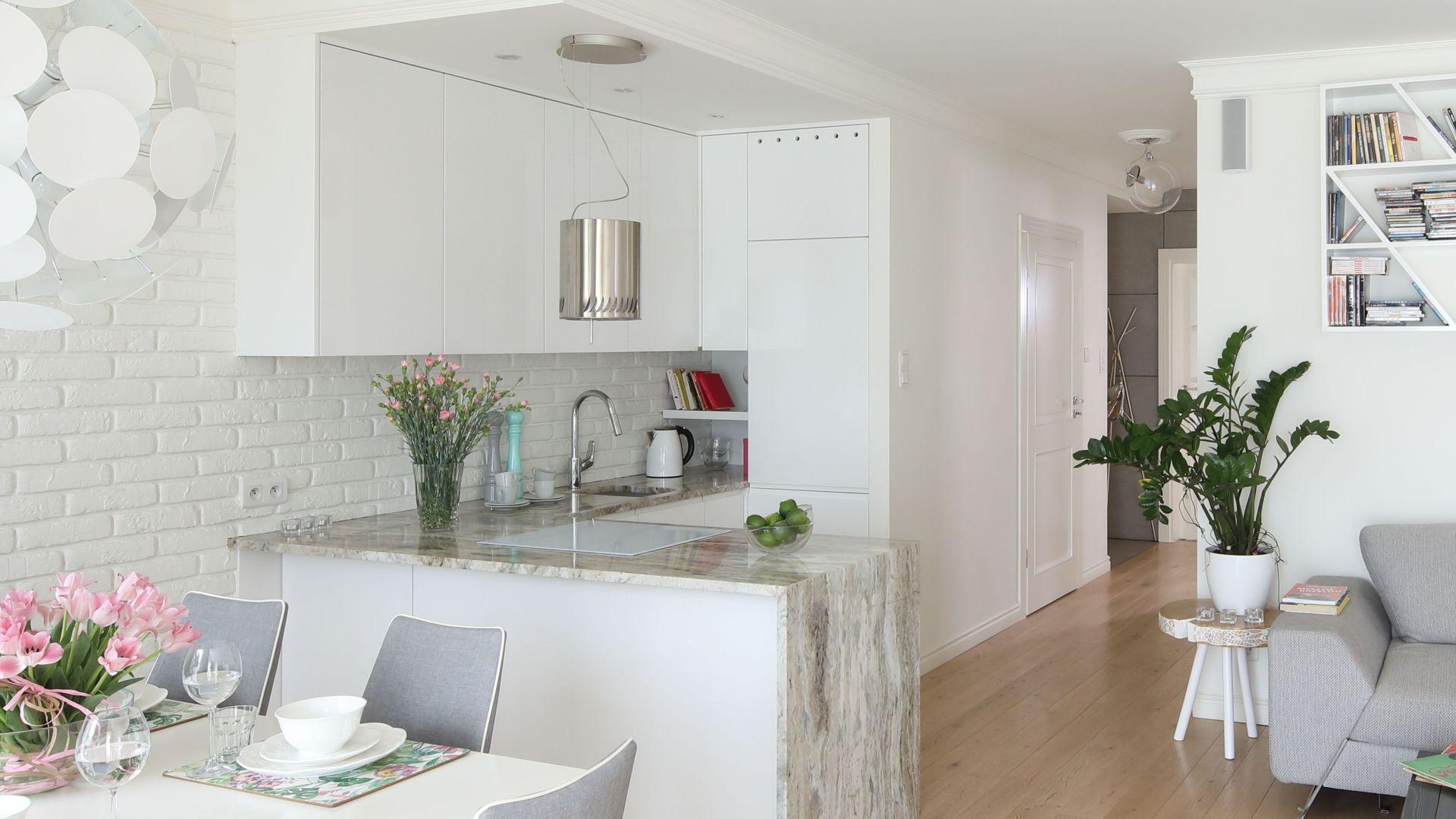 Biała kuchnia w małych wnętrzach. 12 pięknych zdjęć. Projekt Laura Sulzik