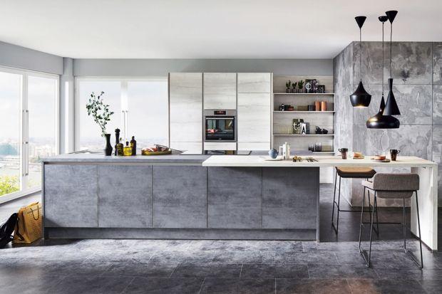 10 pomysłów na modne meble kuchenne z rysunkiem betonu.