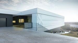 Projekt elewacji domu; w tle rozpościera się przepiękny widok.