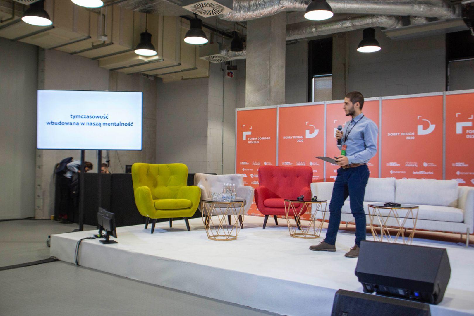 Jędrzej Fiett. Forum Dobrego Designu 2019. Fot. Piotr Waniorek