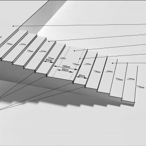 2. Różnica poziomów 120 cm pokonana za pomocą 12 stopni o wymiarach 10x45 cm. W połowie biegu zastosowano spocznik o tak dobranej długości, aby nie łamał rytmu kroków. Rys. Buszrem