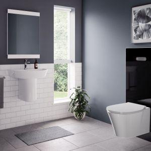 Szklany moduł sanitarny NeoX w kolorze czarnym. Fot. Ideal Standard