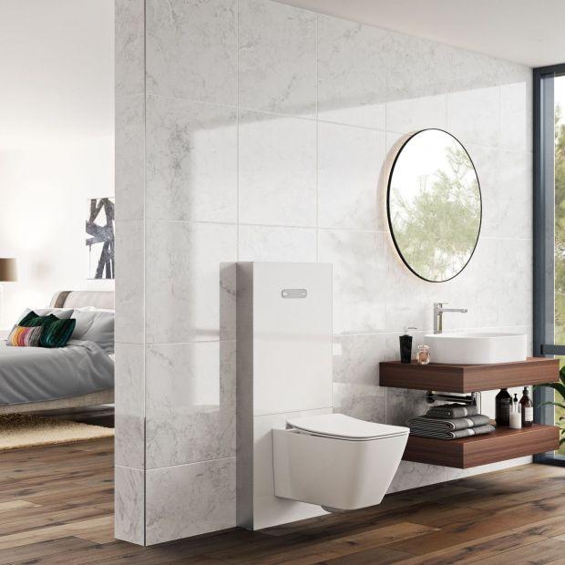 Nowoczesna strefa WC - szklany moduł sanitarny