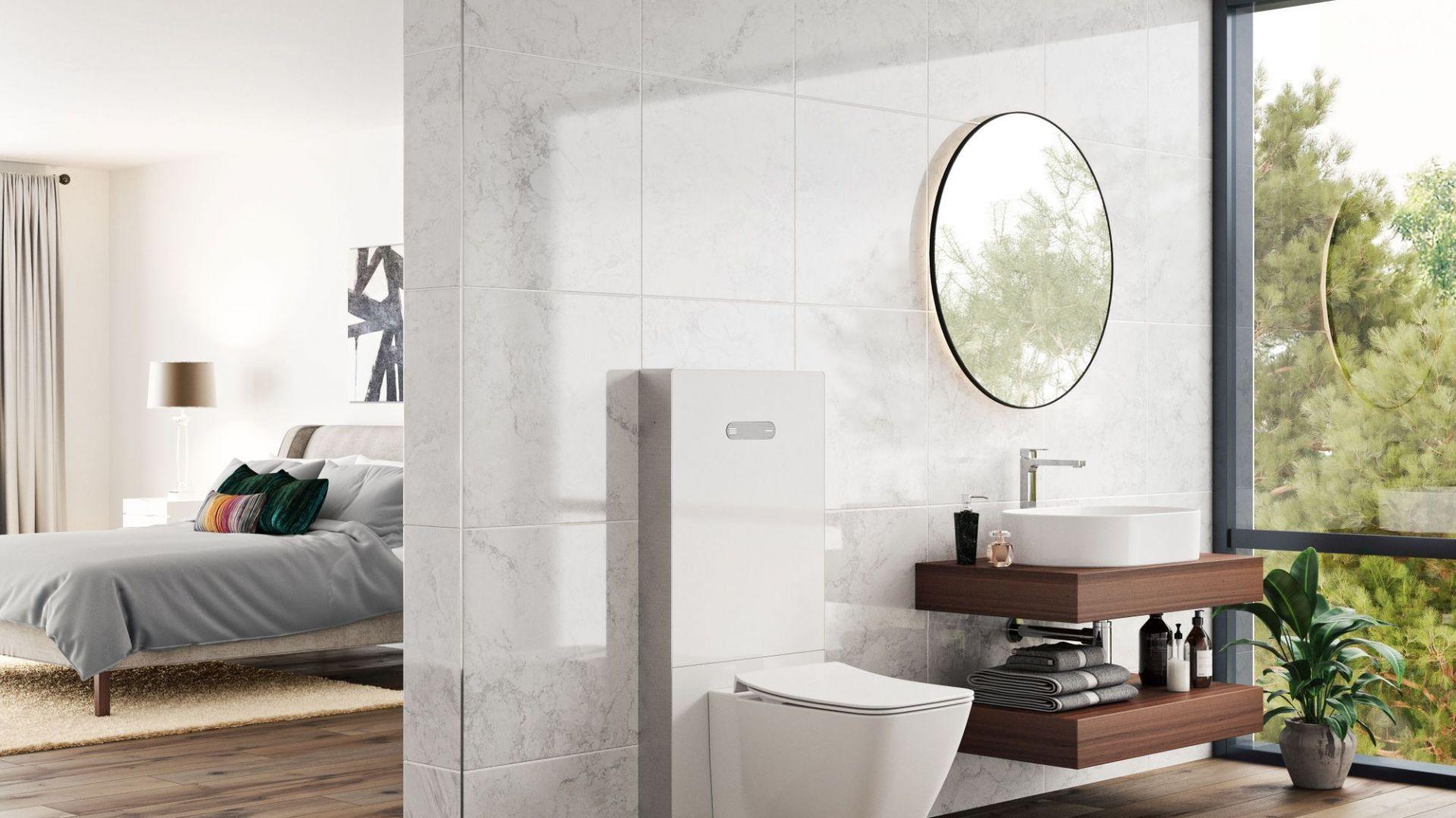 Szklany moduł sanitarny NeoX w kolorze białym. Fot. Ideal Standard