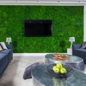 """Ściana żywej zieleni prezentuje się niezwykle efektownie w przestronnym salonie. Efekt """"wow"""" gwarantowany. Doskonale wkomponowano w nią telewizor, a po bokach dodano stylowe, białe shuttersy, które otwierają salon na ogród. Projekt: Dariusz Grabowski. Fot. Bartosz Jarosz"""