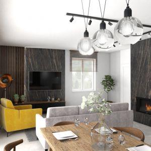 Lampa z kulistymi kloszami ze szkła rozjaśnia blat stołu i jego otoczenie. Strefę wypoczynkową natomiast dobrze oświetlają reflektorki na szynie, które może dowolnie ustawiać, kierując światło tam, gdzie jest potrzebne. Jest tu jeszcze lampa podłogowa – jej zadaniem jest tworzenie nastrojowego klimatu. Fot. Pracownia Architektoniczna MGN