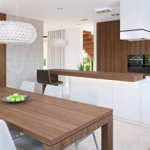 Kuchnia, salon i jadalnią tworzą jedną otwartą strefę dzienną. Projekt: HomeKONCEPT 15. Fot. HomeKONCEPT