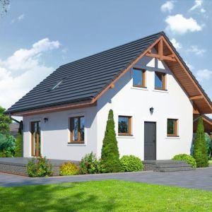 7. Gładyszowo M to projekt małego domu poddaszem użytkowym i wiatą garażową. Zwarta bryła budynku i dach dwuspadowy sprzyjają szybkiej i taniej budowie oraz niskim kosztom eksploatacji. Fot. Dom-Projekt