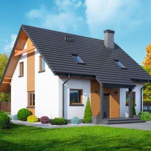 3. Stopnica 3 DWS. Dom w konstrukcji szkieletu drewnianego. Zwarta bryła budynku i dach dwuspadowy sprzyjają szybkiej i taniej budowie oraz niskim kosztom eksploatacji. Fot. Dom-Projekt