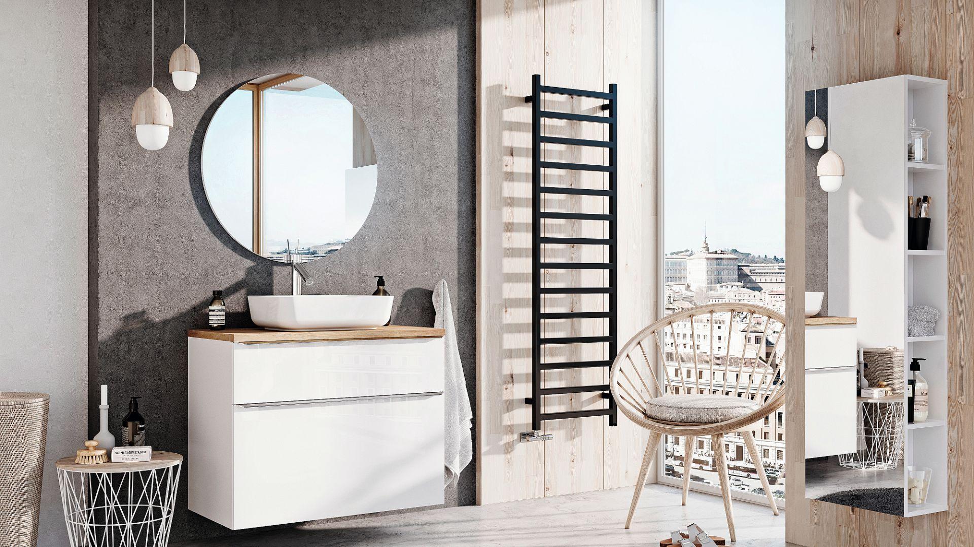LOFTY - kolekcja mebli łazienkowych daje bogactwo możliwości konfiguracji dla indywidualnego, niepowtarzalnego efektu. Szafki wykonane zostały z trwałych i nowoczesnych materiałów. Dostępne w ofercie firmy Elita. Fot. Elita