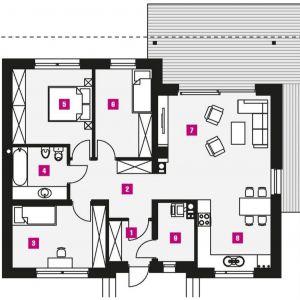 Powierzchnie w mkw.: 1. wiatrołap - 3,51, 2. hol - 8,10, 3. pokój - 11,83, 4. łazienka - 5,80, 5. pokój - 12,75, 6. pokój - 10,21, 7. salon - 24,16, 8. kuchnia + jadalnia - 10,26, 9. kotłownia - 4,06.