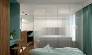 Sypialnia wydzielona ścianką