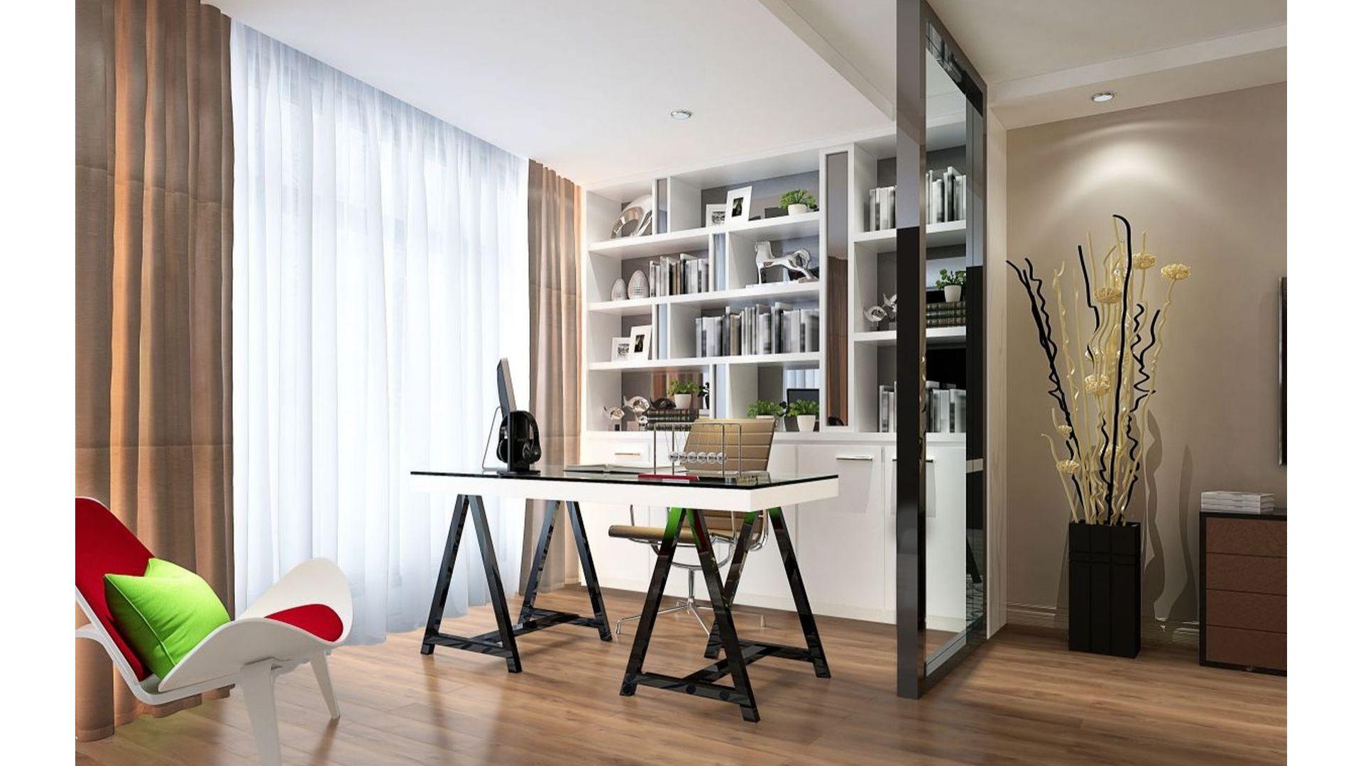 Aranżując domowe biuro warto zadbać o subtelne wydzielenie przestrzeni. Fot. RuckZuck