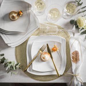Zastawa Celebration zapewni aranżacja karnawałowego stołu delikatny i romantyczny charakter. Ten kobiecy, biały serwis o opływowym kształcie jest delikatny i jednocześnie elegancki. Fot.  Fyrklӧvern