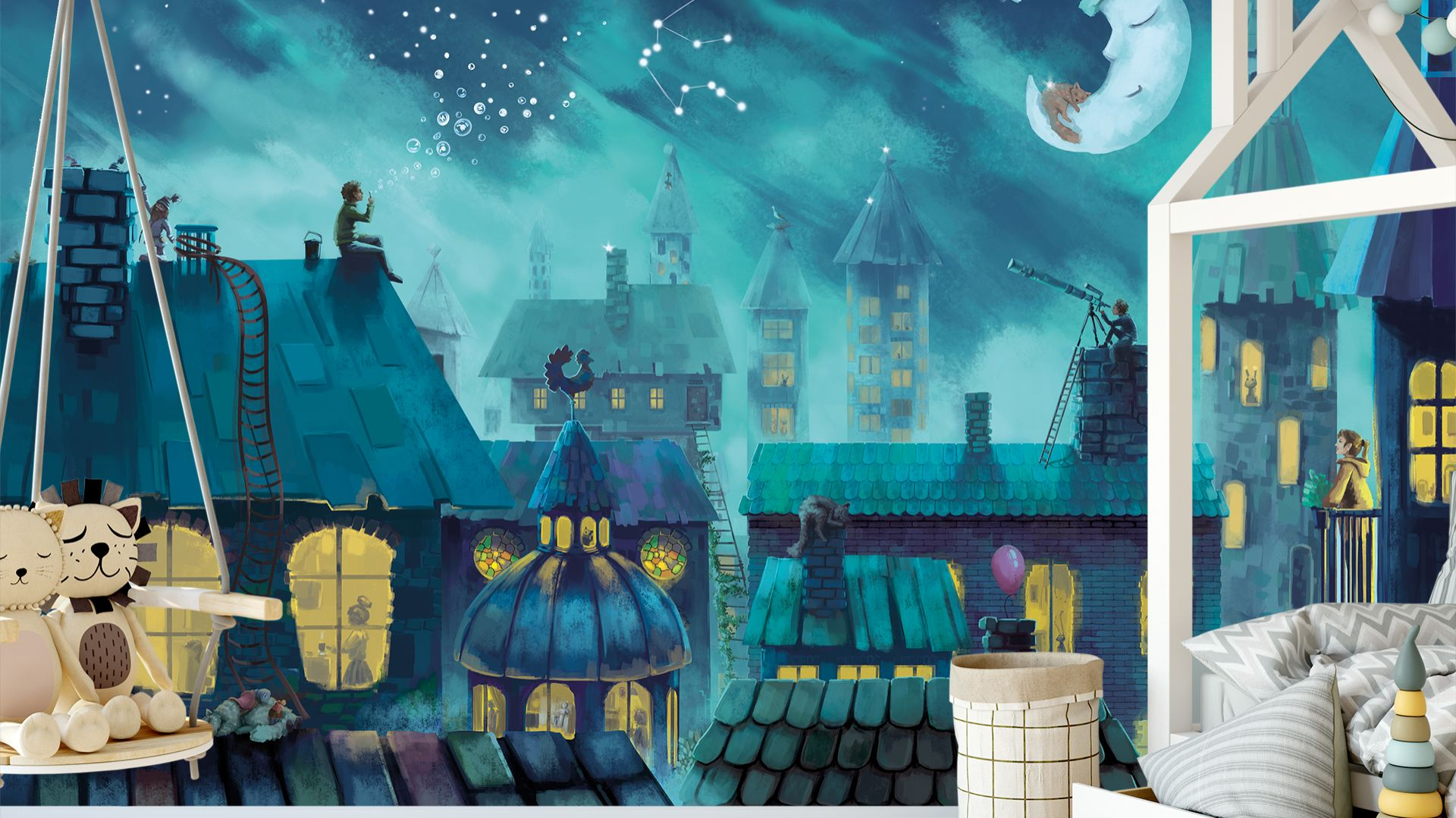 Tapeta Nocowanie dla nocnych marków i sennych marzycieli. Granatowy kolor stworzy atmosferę odpoczynku w sypialni dziecka. Fot. Lajka Studio