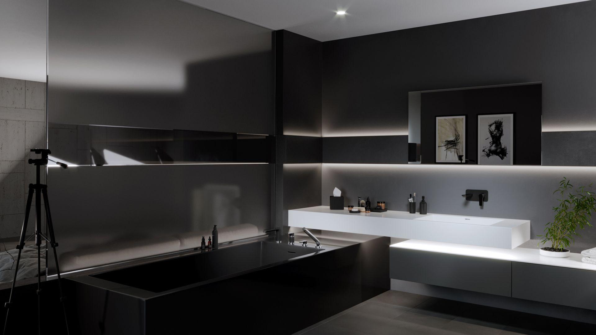 Linia Adore Black wyróżnia się za sprawą połączenia czarnego matu z błyszczącym chromem. Wybrane elementy wylewki, uchwytu sterującego czy korpusu pokryto tradycyjną powłoką chromowaną. Pozostałe są w kolorze czerni. Fot. Ferro