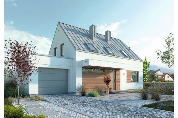Mały nowoczesny dom z poddaszem użytkowym i garażem. Zobacz projekt