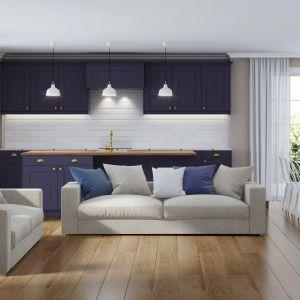 Instytut Pantone ogłosił Classic Blue kolorem roku 2020. Na zdjęciu panele Wiparquet Authentic 8 Narrow Dąb Naturalny od RuckZuck