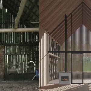 Salon oraz istniejąca stodoła. Fot. BXBstudio Bogusław Barnaś