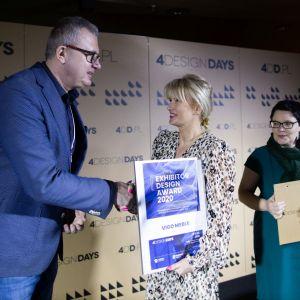 Exhibitor Design Award 2020 - wyróżnienie za najciekawsze stoisko targowe 4 Design Days dla firmy Vigo Meble.