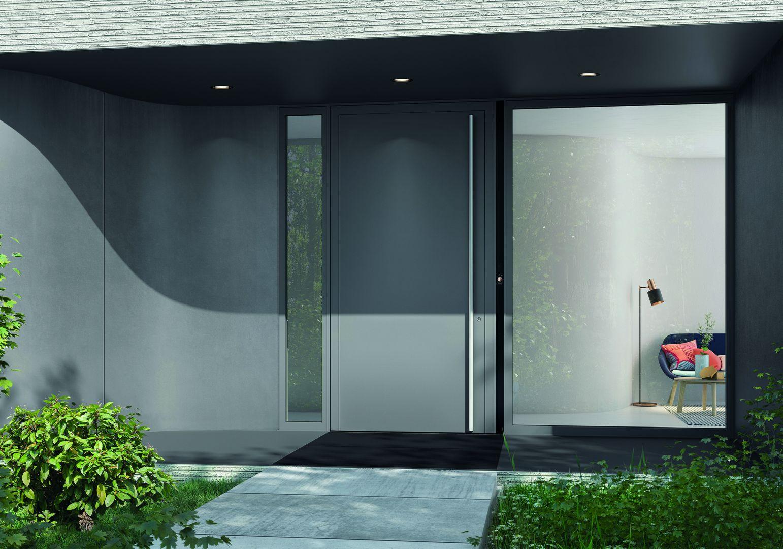 Drzwi Schüco AD UP 90 z obustronnym aluminiowym panelem i modułem dotykowym DCS SmartTouch. Fot. Schüco