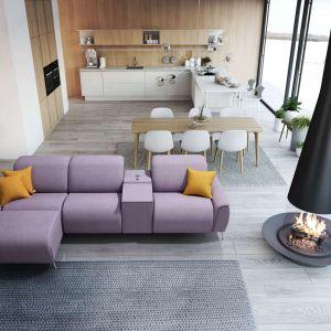 Modna kanapa w salonie. Komfortowy zestaw modułowy Lipari. Fot.Meblomak