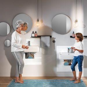 System podtynkowy Viega Prevista umożliwia regulację wysokości miski w.c. oraz umywalki za pomocą przycisku montowanego na ścianie. Fot. Viega