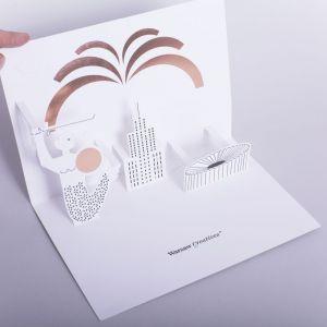 Projekt kartki pop-up dla agencji Warsaw Creatives. Fot. materiały Magdaleny Łapińskiej-Rozenbaum
