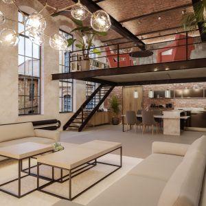 Wnętrze w stylu loft: konglomerat kwarcytowy Noble Concrete Grey marki Technistone. Fot. Technistone