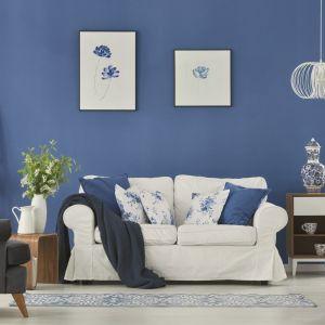 Ściany w salonie. Farba Jedynka Deco & Protect w kolorze Morski klimat. Fot. Jedynka