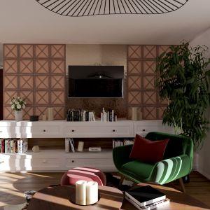Ściany w salonie. Płytka cementowa Maderada imitująca kolor, usłojenie oraz fakturę drewna. Fot. Elkamino Dom
