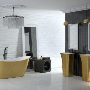 Wanny i umywalki w wykończeniu Besco Glam gold dostępne w ofercie firmy Besco. Fot. Besco