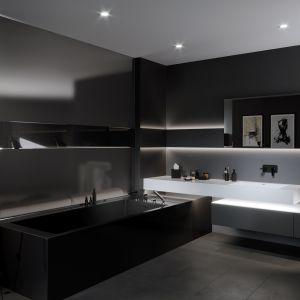 Bateria umywalkowa podtynkowa Adore Black o oryginalnej czarnej barwie i chromowanym wykończeniu. Fot. Ferro