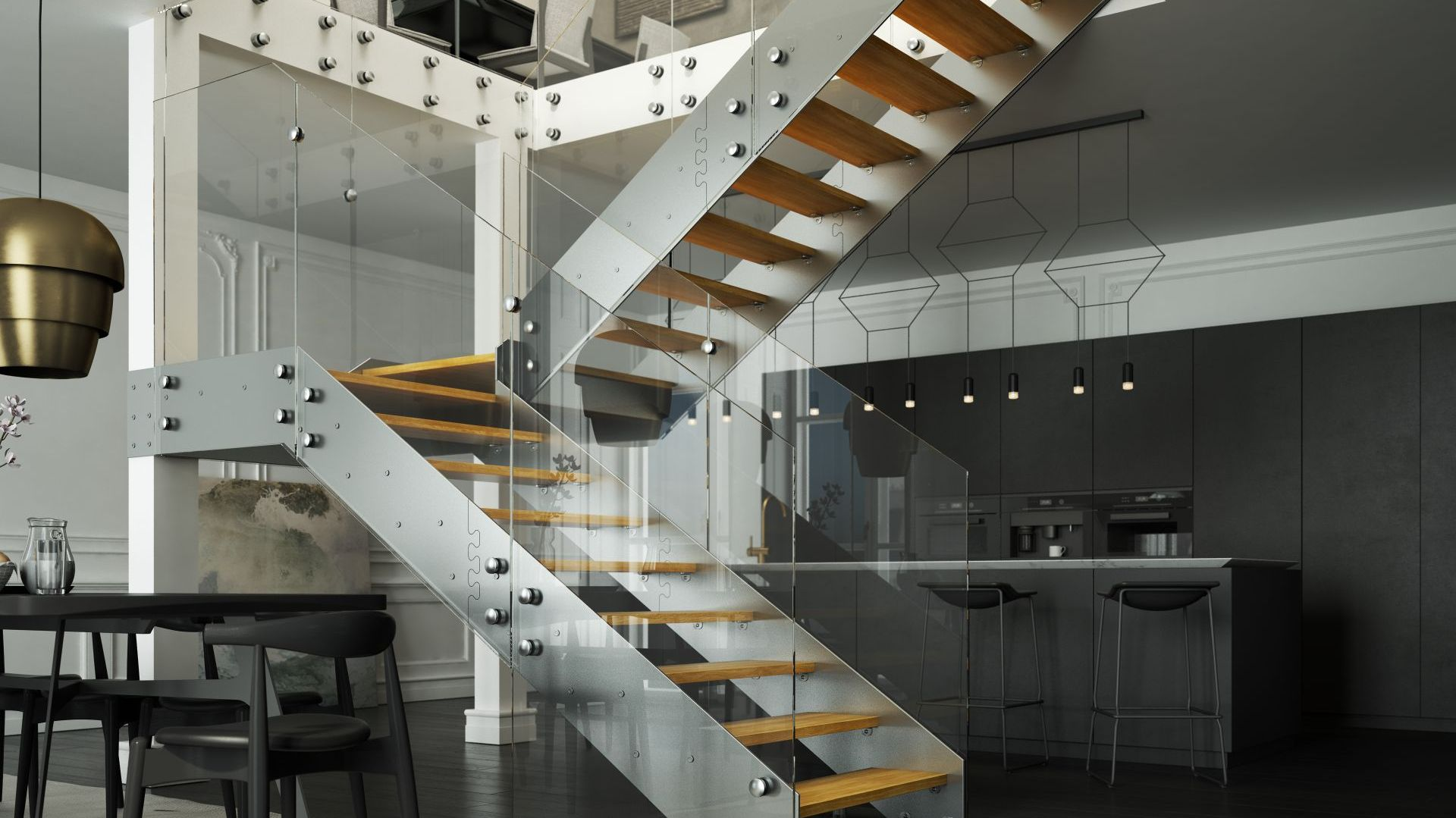 Schody Futura oparte na konstrukcji policzkowej, szklana balustrada Tafla, stopnie z litego dębu. Fot. Rintal Polska