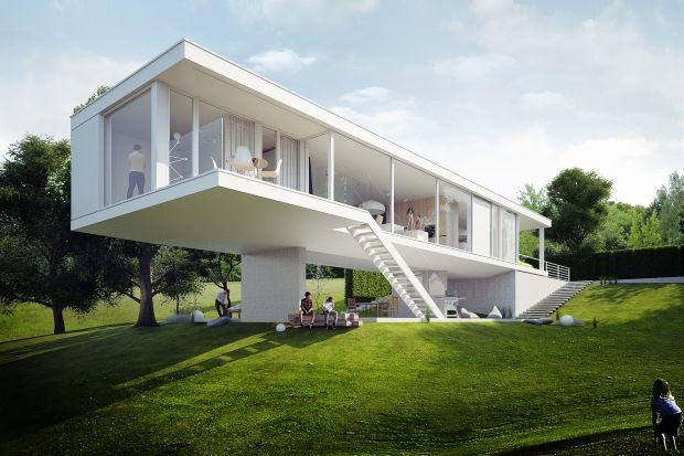Jest prosty, pozbawiony ozdobników, został jednak zaprojektowany w mocno nachylonym terenie, z którym tworzy intrygująca relację. Zobaczcie projekt pięknego Domu na skarpie.