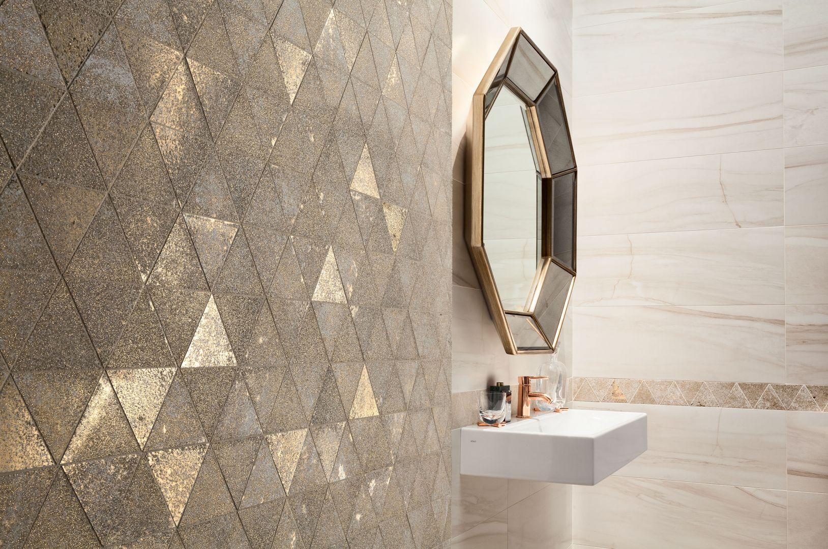 Dyskretna odsłona elegancji i połysku. Mozaika Sheen gold z kolekcji Macieja Zienia. Fot. Tubądzin